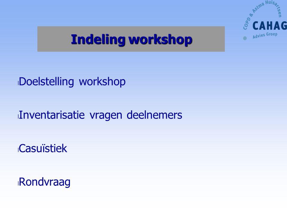 Indeling workshop Doelstelling workshop