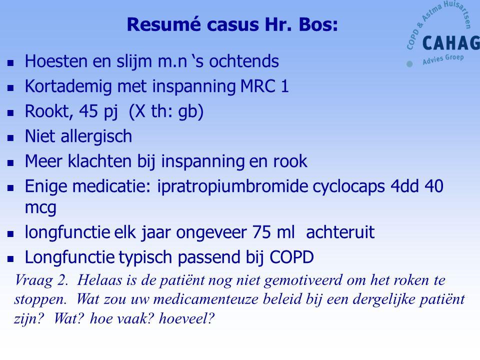 Resumé casus Hr. Bos: Hoesten en slijm m.n 's ochtends