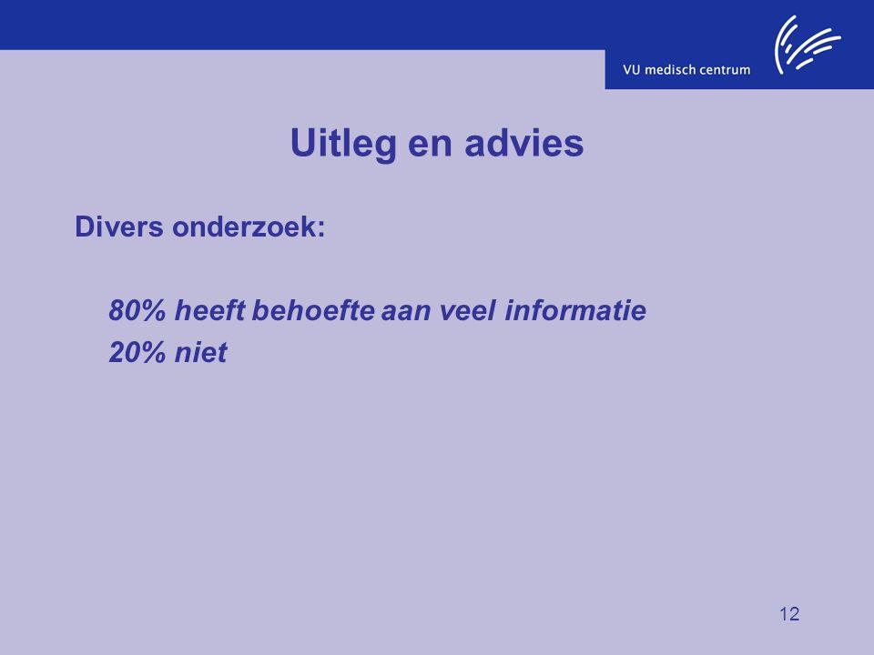 Uitleg en advies Divers onderzoek: