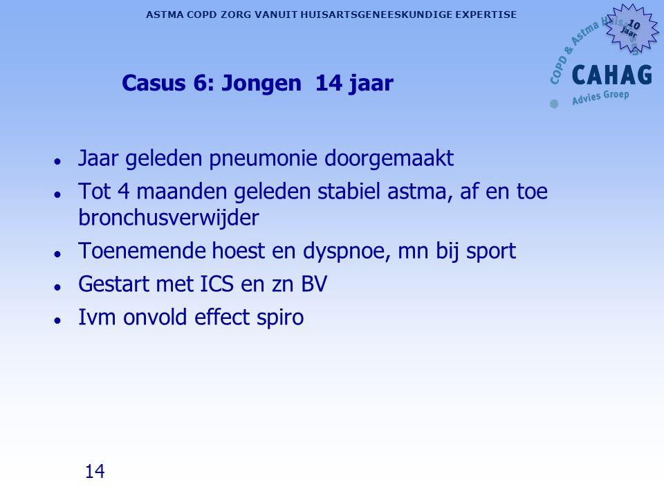 Casus 6: Jongen 14 jaar Jaar geleden pneumonie doorgemaakt. Tot 4 maanden geleden stabiel astma, af en toe bronchusverwijder.