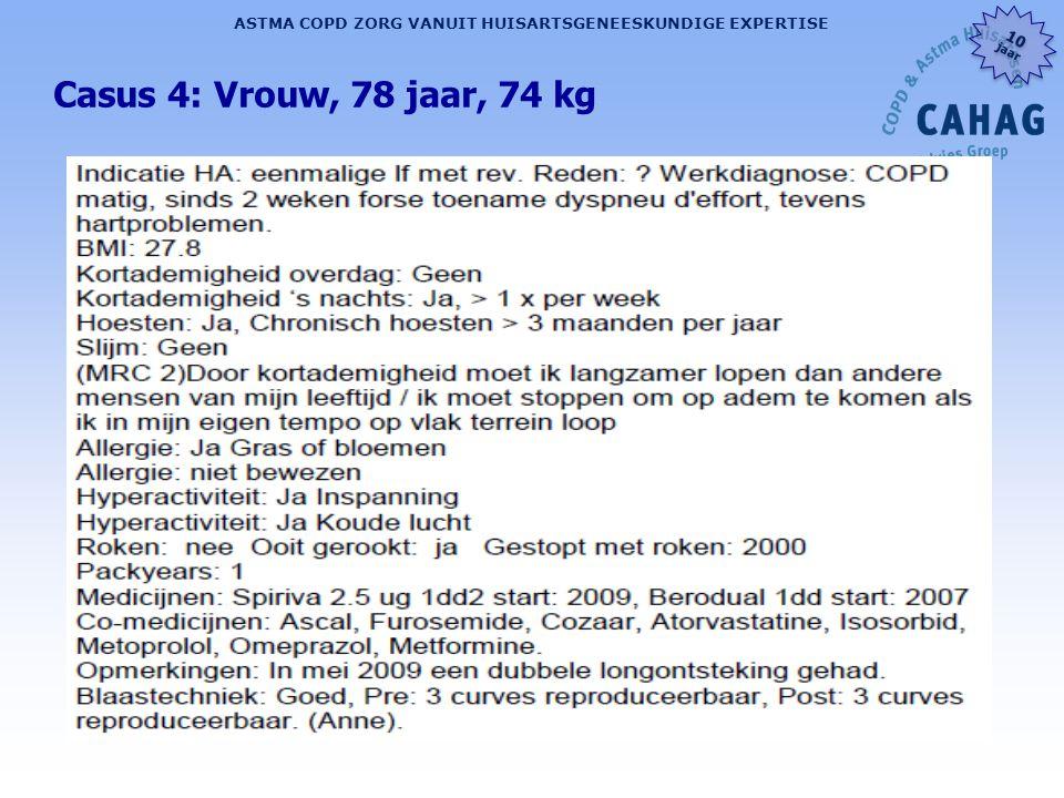 Casus 4: Vrouw, 78 jaar, 74 kg Na anamnese de zaal laten bedenken wat ze van de spirometrie verwachten