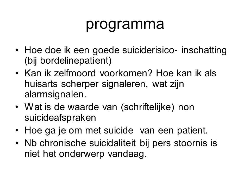 programma Hoe doe ik een goede suiciderisico- inschatting (bij bordelinepatient)