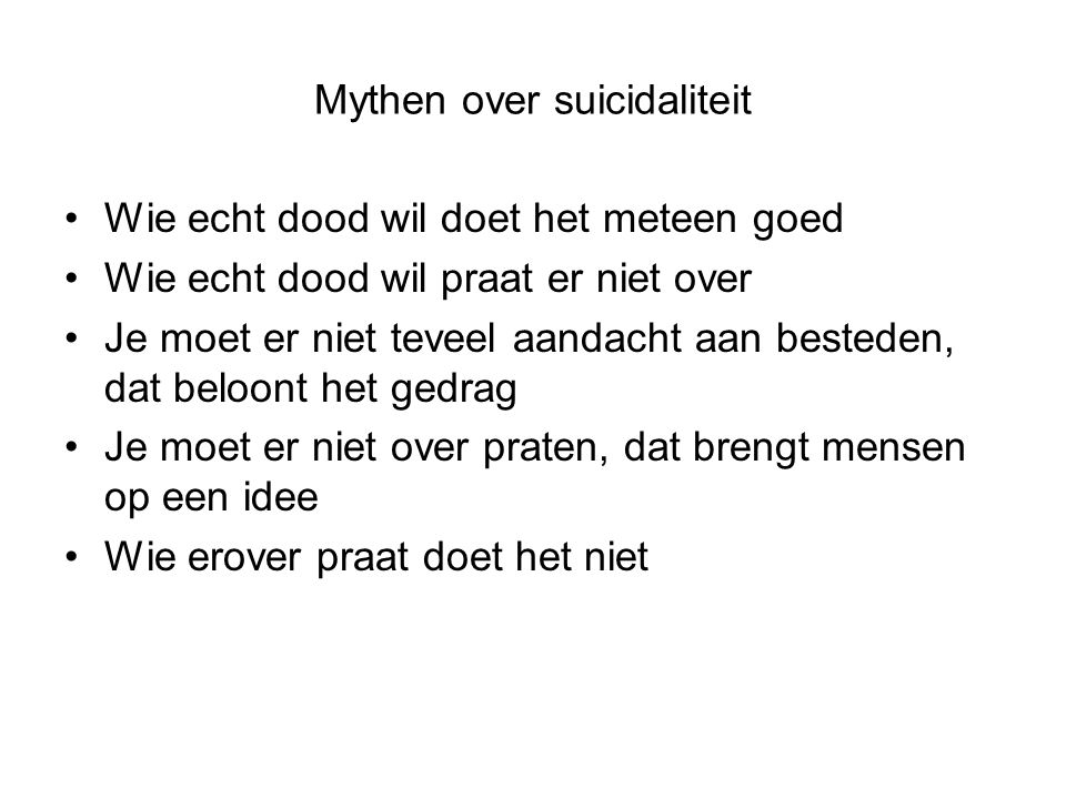 Mythen over suicidaliteit