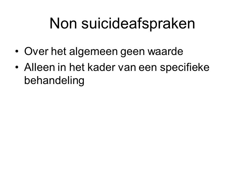 Non suicideafspraken Over het algemeen geen waarde