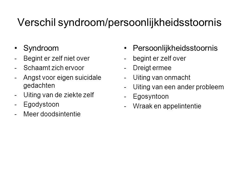 Verschil syndroom/persoonlijkheidsstoornis