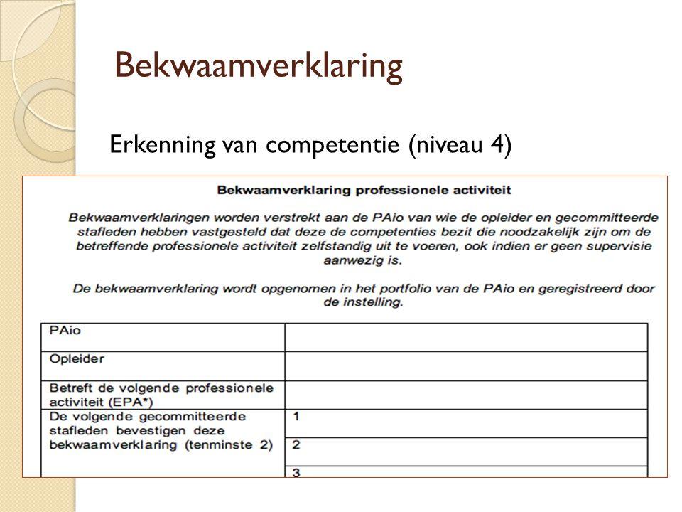Bekwaamverklaring Erkenning van competentie (niveau 4) 14