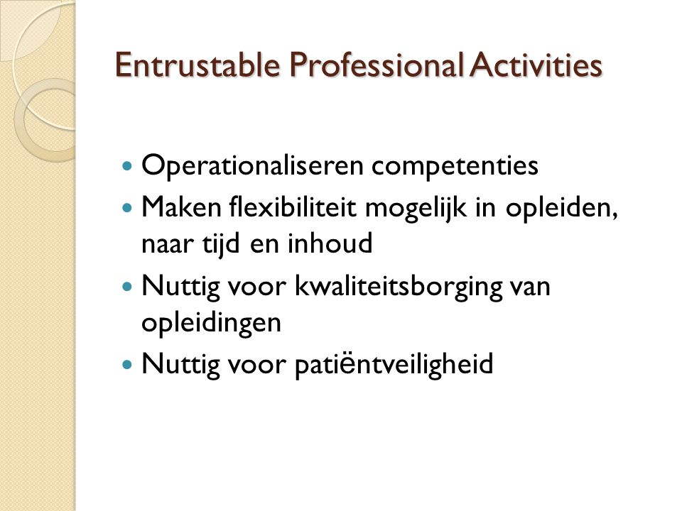 Entrustable Professional Activities
