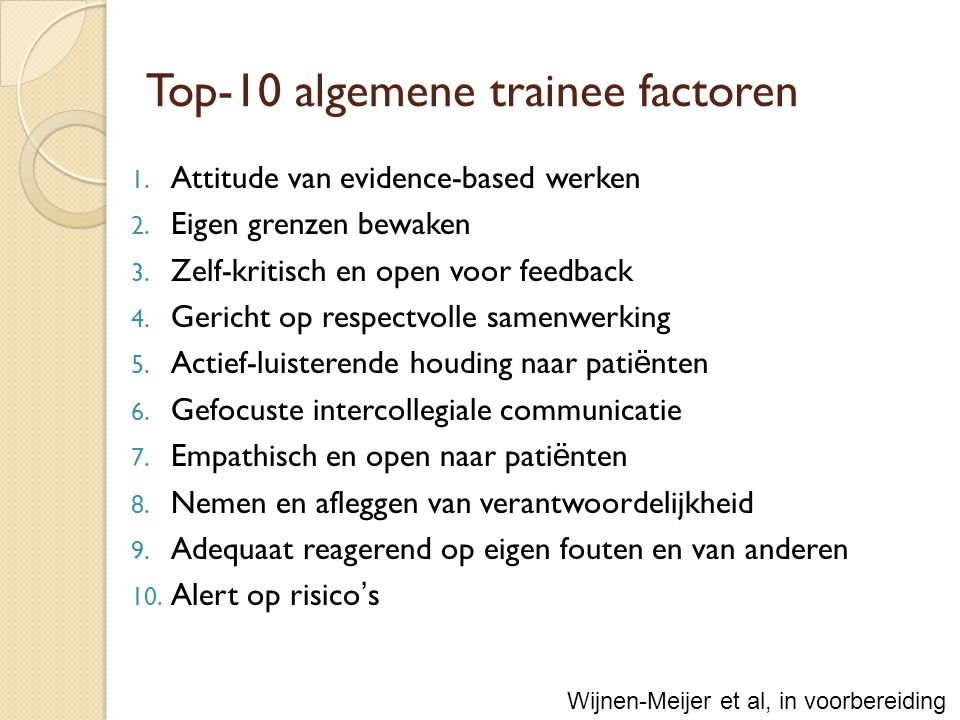 Top-10 algemene trainee factoren