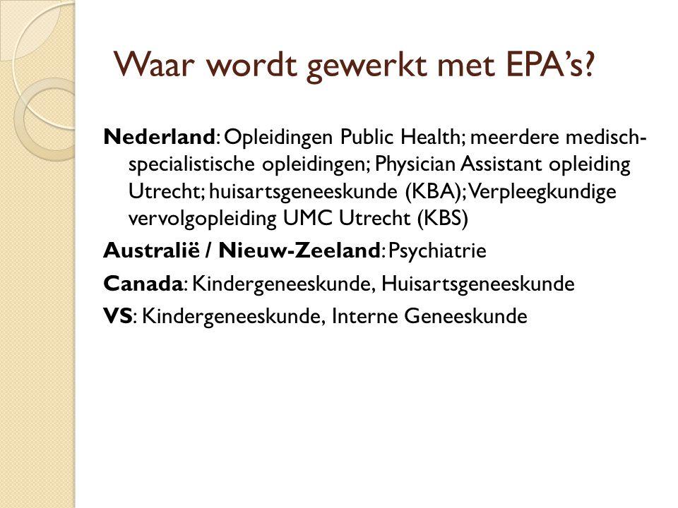 Waar wordt gewerkt met EPA's