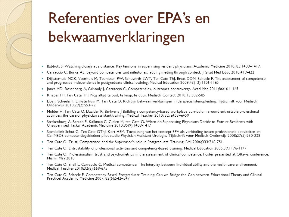 Referenties over EPA's en bekwaamverklaringen