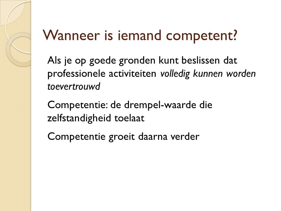 Wanneer is iemand competent