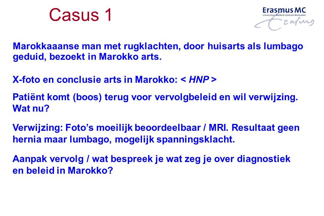 Casus 1 Marokkaaanse man met rugklachten, door huisarts als lumbago