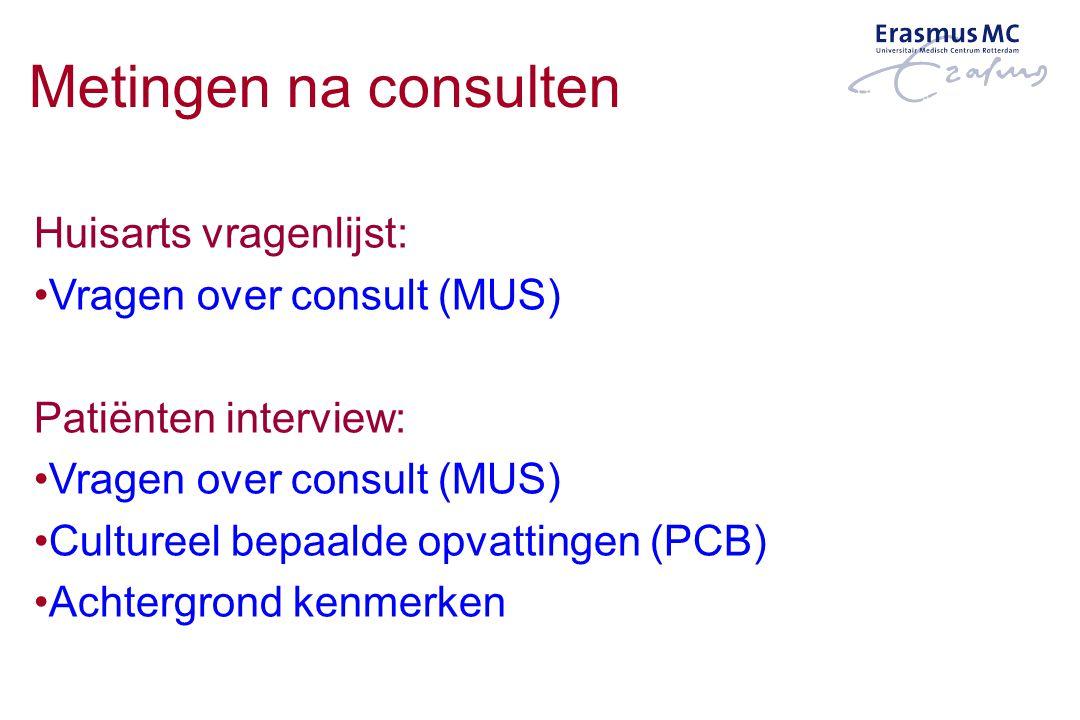 Metingen na consulten Huisarts vragenlijst: Vragen over consult (MUS)