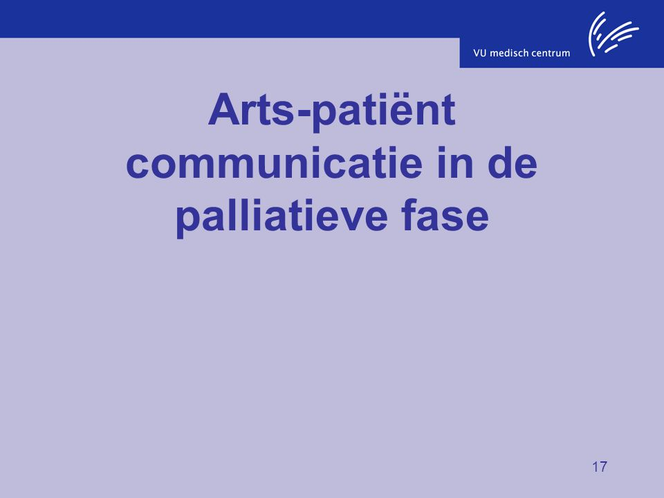 Arts-patiënt communicatie in de palliatieve fase