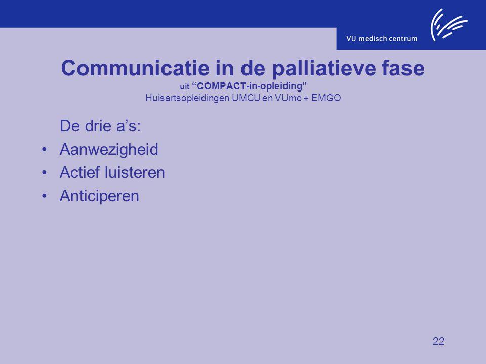Communicatie in de palliatieve fase uit COMPACT-in-opleiding Huisartsopleidingen UMCU en VUmc + EMGO