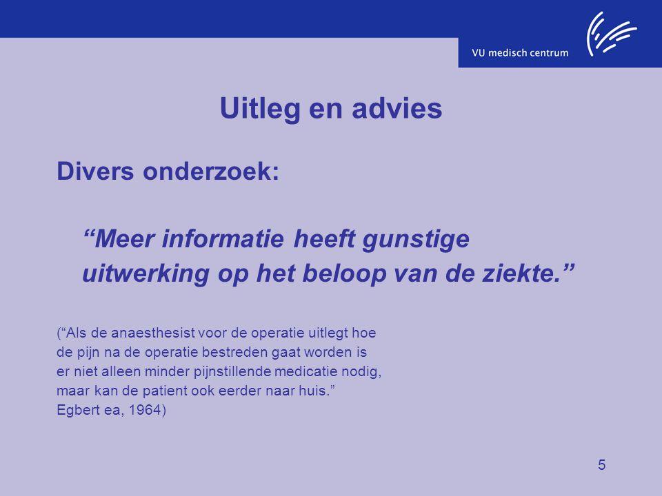 Uitleg en advies Divers onderzoek: Meer informatie heeft gunstige