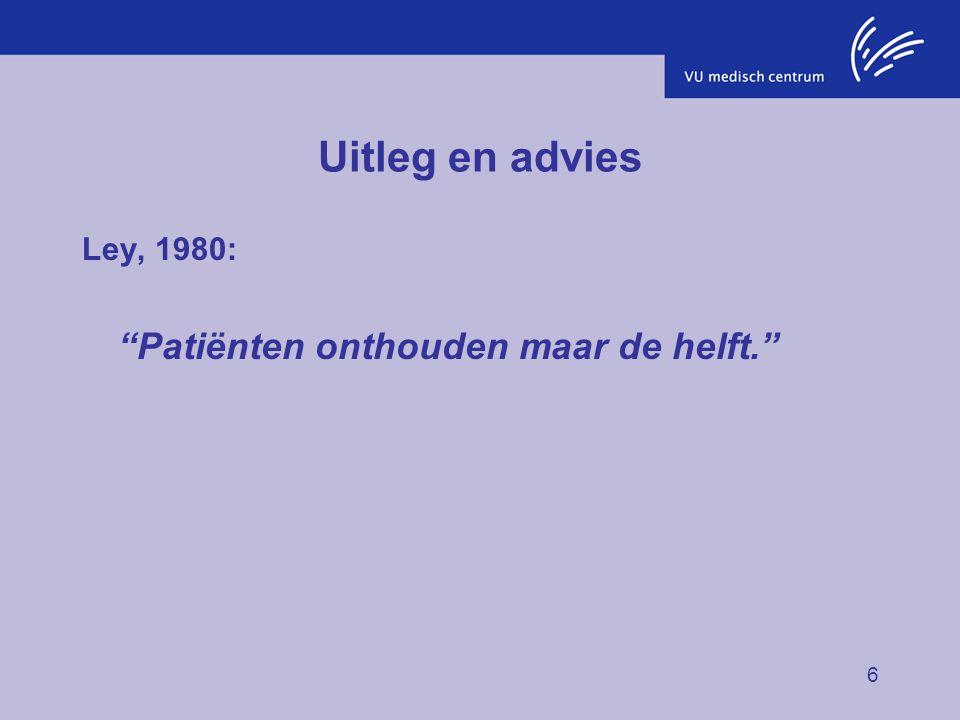 Uitleg en advies Ley, 1980: Patiënten onthouden maar de helft.