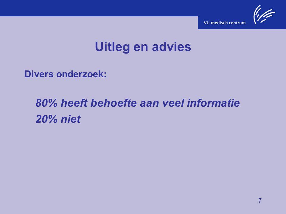 Uitleg en advies 80% heeft behoefte aan veel informatie 20% niet