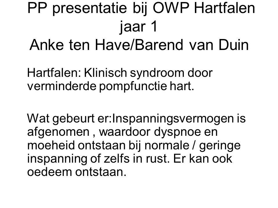 PP presentatie bij OWP Hartfalen jaar 1 Anke ten Have/Barend van Duin