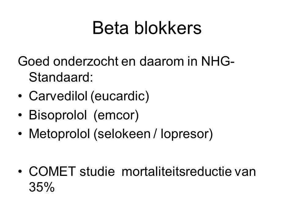 Beta blokkers Goed onderzocht en daarom in NHG-Standaard: