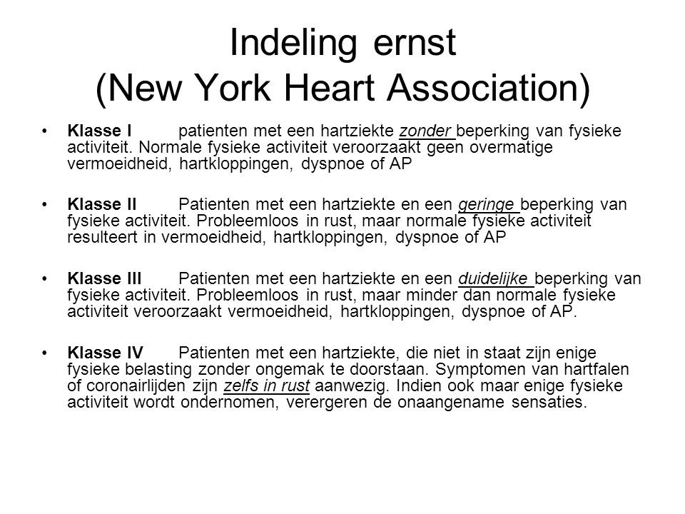 Indeling ernst (New York Heart Association)