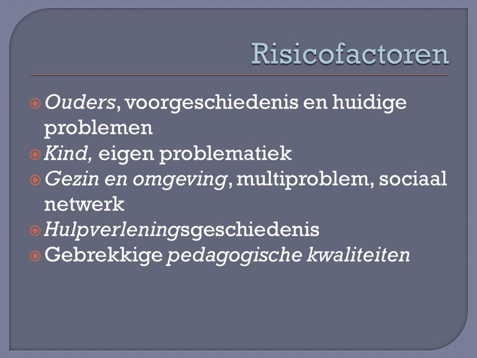 Risicofactoren Ouders, voorgeschiedenis en huidige problemen