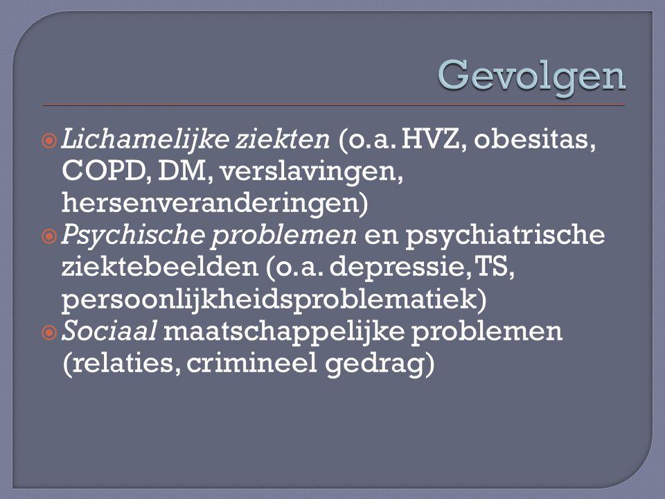 Gevolgen Lichamelijke ziekten (o.a. HVZ, obesitas, COPD, DM, verslavingen, hersenveranderingen)
