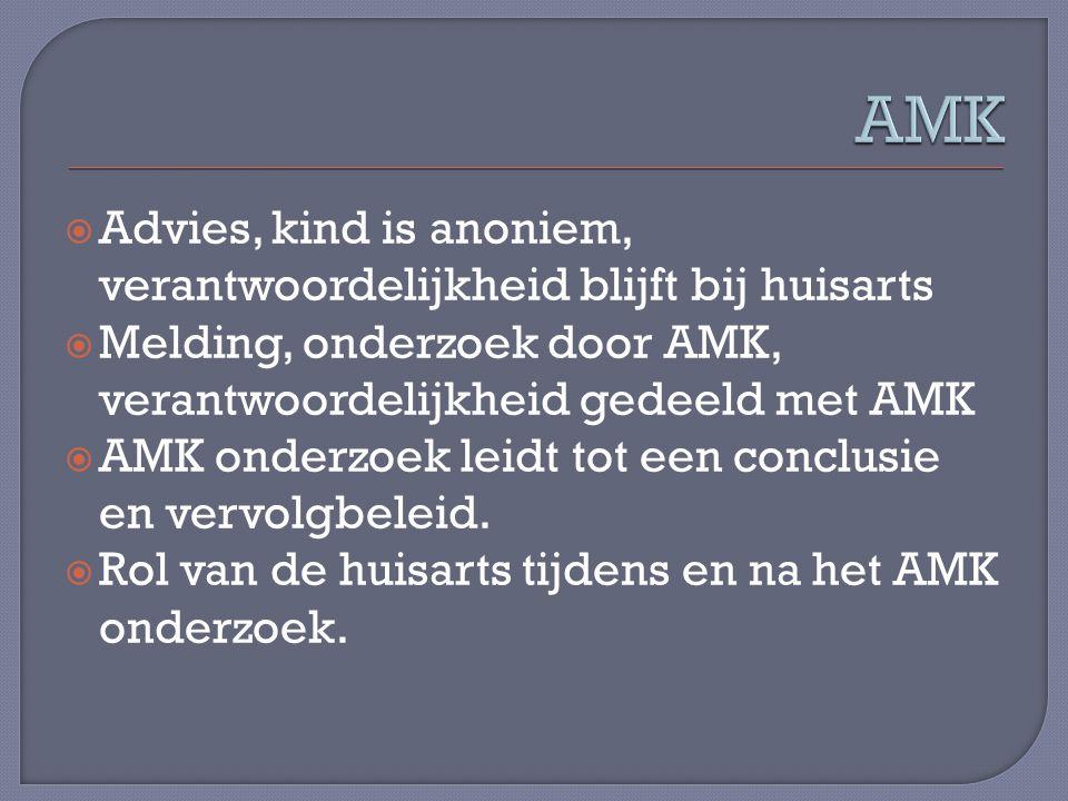 AMK Advies, kind is anoniem, verantwoordelijkheid blijft bij huisarts