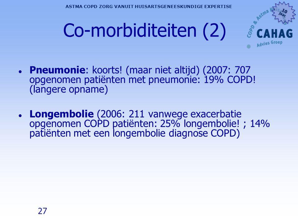 Co-morbiditeiten (2) Pneumonie: koorts! (maar niet altijd) (2007: 707 opgenomen patiënten met pneumonie: 19% COPD! (langere opname)
