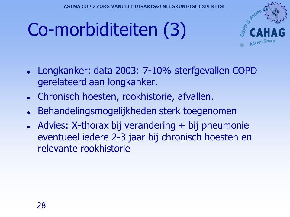 Co-morbiditeiten (3) Longkanker: data 2003: 7-10% sterfgevallen COPD gerelateerd aan longkanker. Chronisch hoesten, rookhistorie, afvallen.