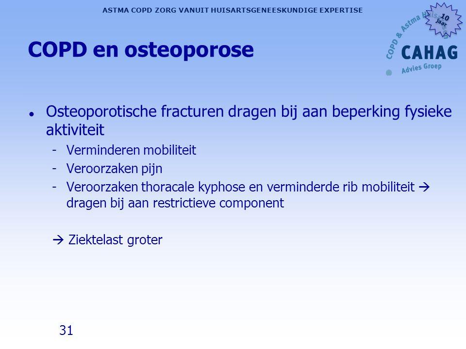 COPD en osteoporose Osteoporotische fracturen dragen bij aan beperking fysieke aktiviteit. Verminderen mobiliteit.