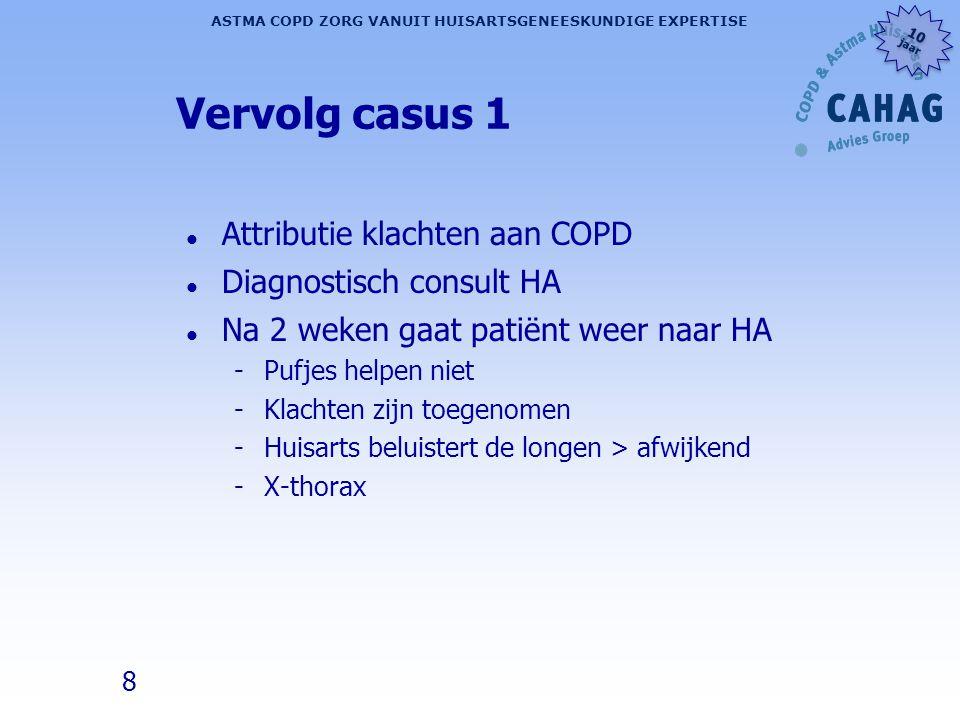 Vervolg casus 1 Attributie klachten aan COPD Diagnostisch consult HA