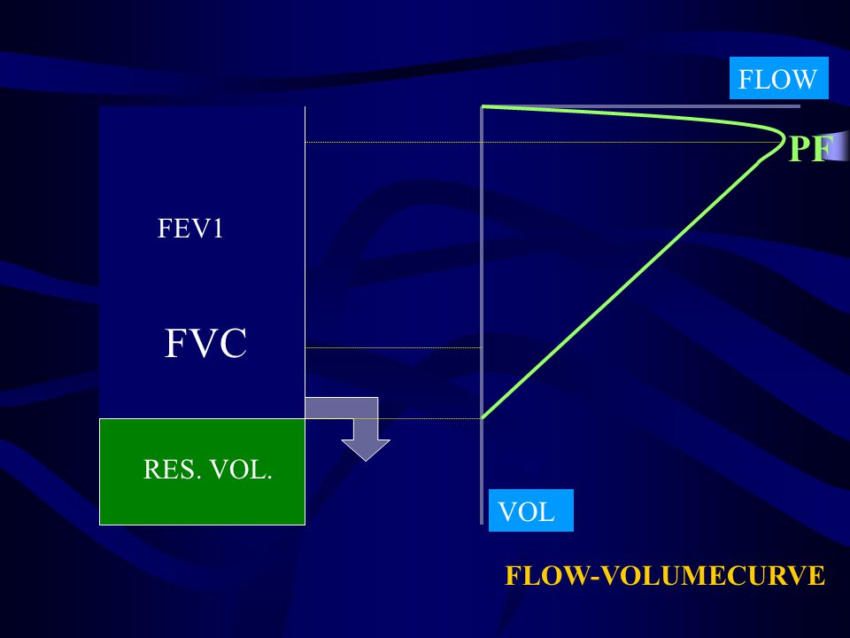 FLOW PF FEV1 FVC RES. VOL. VOL FLOW-VOLUMECURVE