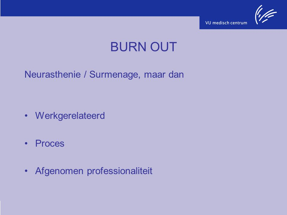 BURN OUT Neurasthenie / Surmenage, maar dan Werkgerelateerd Proces