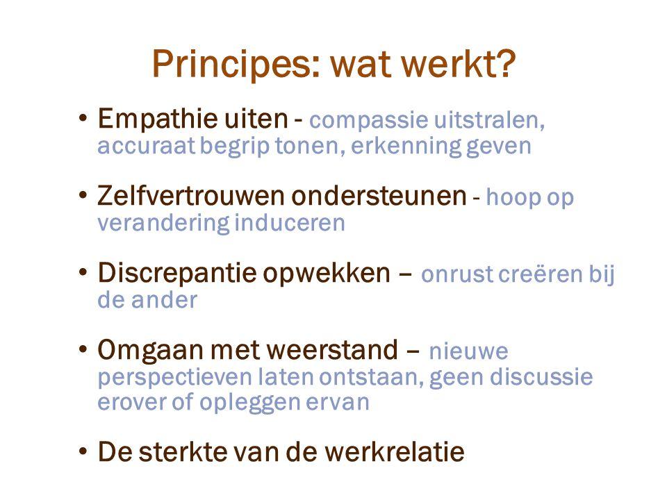 Principes: wat werkt Empathie uiten - compassie uitstralen, accuraat begrip tonen, erkenning geven.