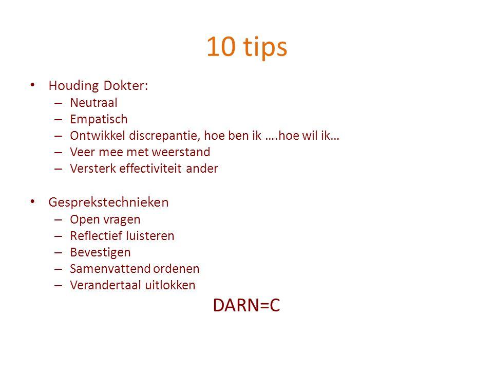 10 tips DARN=C Houding Dokter: Gesprekstechnieken Neutraal Empatisch
