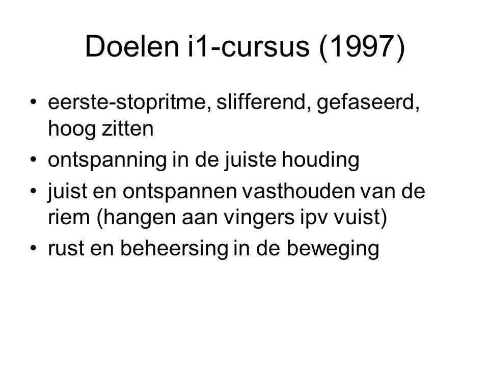 Doelen i1-cursus (1997) eerste-stopritme, slifferend, gefaseerd, hoog zitten. ontspanning in de juiste houding.