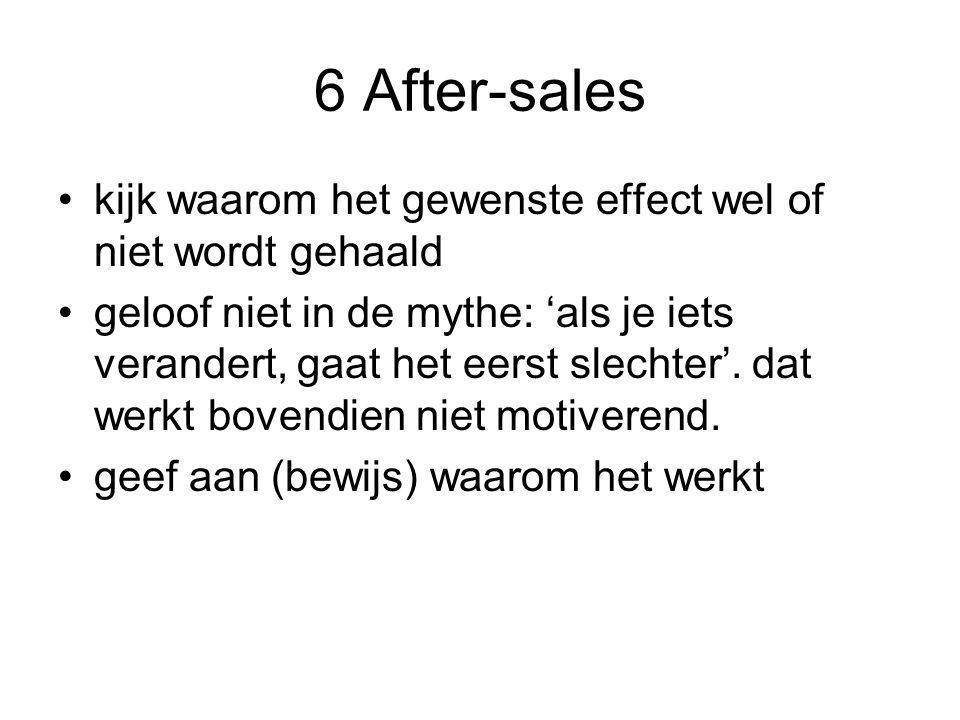 6 After-sales kijk waarom het gewenste effect wel of niet wordt gehaald.