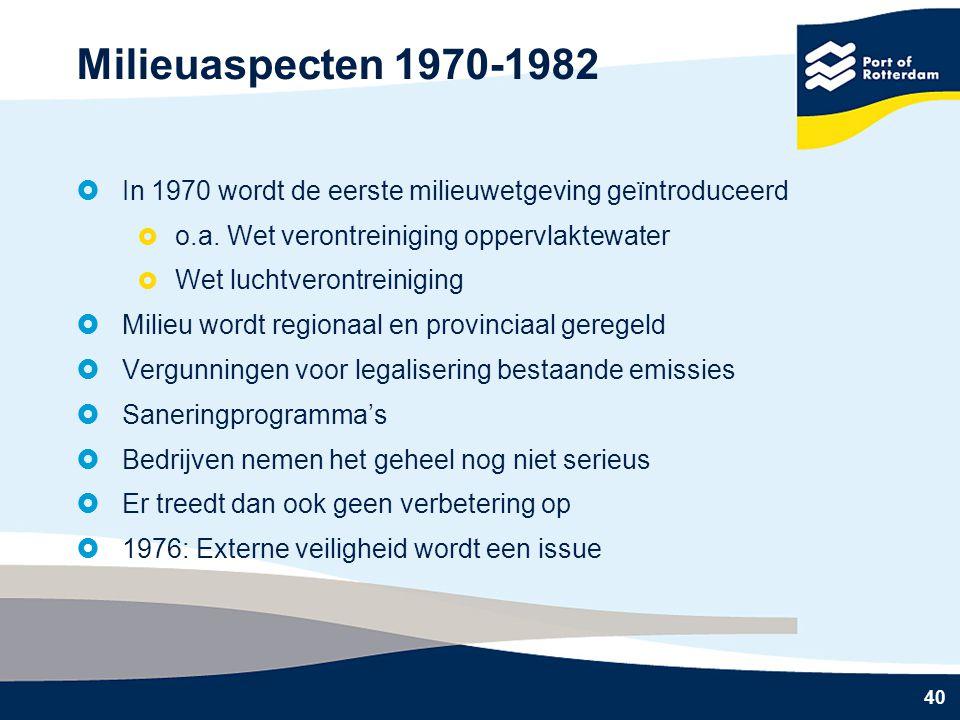 Milieuaspecten 1970-1982 In 1970 wordt de eerste milieuwetgeving geïntroduceerd. o.a. Wet verontreiniging oppervlaktewater.