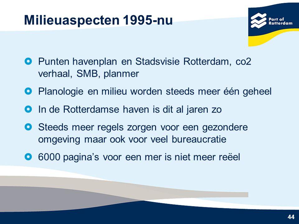 Milieuaspecten 1995-nu Punten havenplan en Stadsvisie Rotterdam, co2 verhaal, SMB, planmer. Planologie en milieu worden steeds meer één geheel.