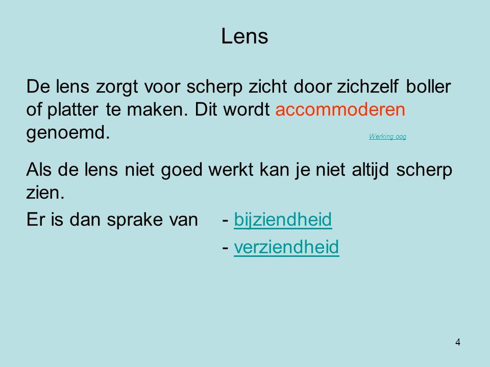 Lens De lens zorgt voor scherp zicht door zichzelf boller of platter te maken. Dit wordt accommoderen genoemd. Werking oog.