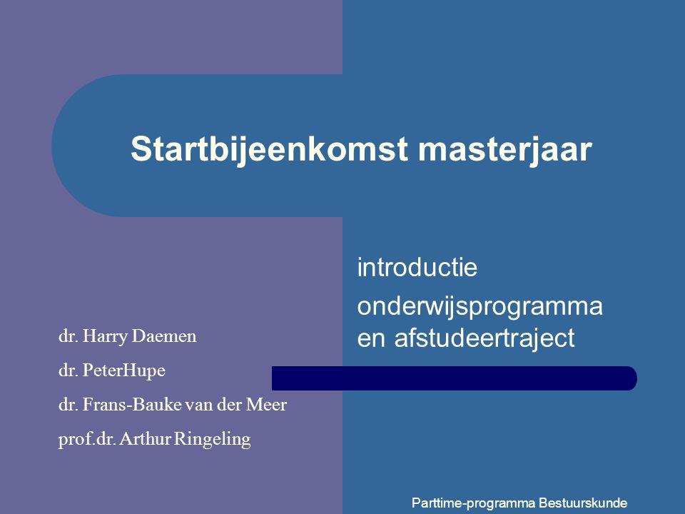 Startbijeenkomst masterjaar