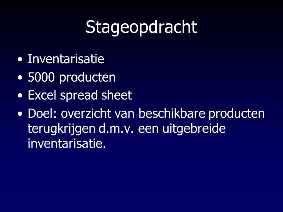 Stageopdracht Inventarisatie 5000 producten Excel spread sheet