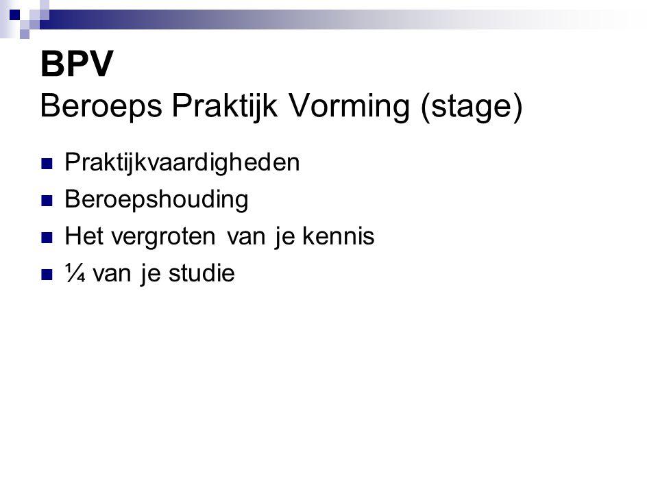 BPV Beroeps Praktijk Vorming (stage)