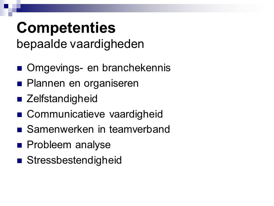 Competenties bepaalde vaardigheden
