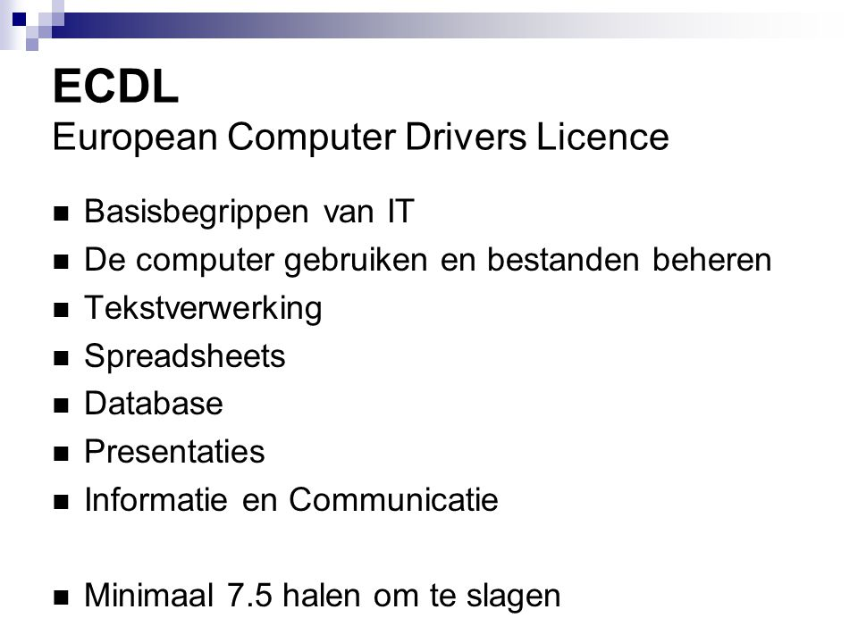 ECDL European Computer Drivers Licence