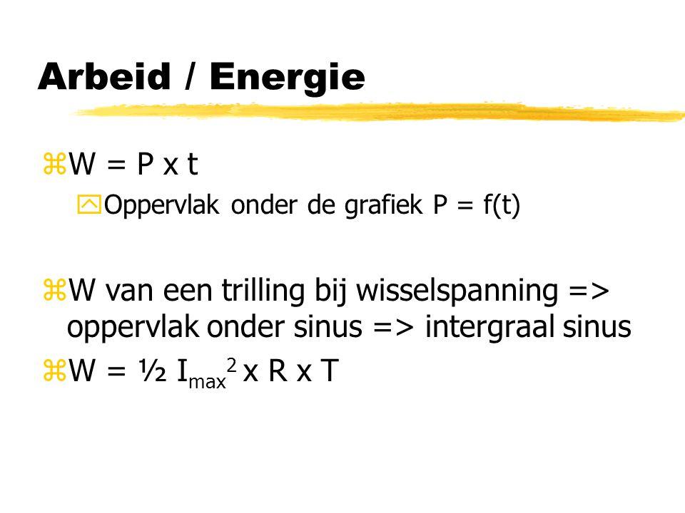 Arbeid / Energie W = P x t. Oppervlak onder de grafiek P = f(t) W van een trilling bij wisselspanning => oppervlak onder sinus => intergraal sinus.