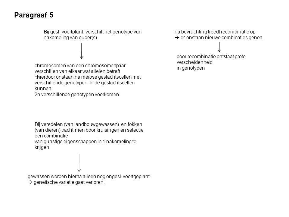 Paragraaf 5 Bij gesl. voortplant. verschilt het genotype van nakomeling van ouder(s) na bevruchting treedt recombinatie op.