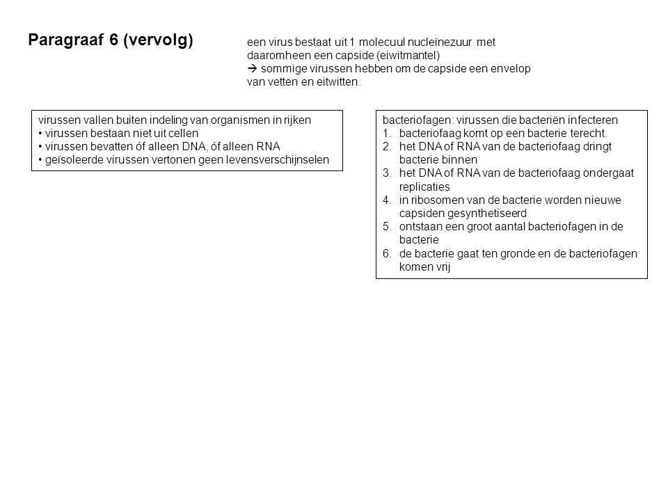 Paragraaf 6 (vervolg) een virus bestaat uit 1 molecuul nucleïnezuur met daaromheen een capside (eiwitmantel)