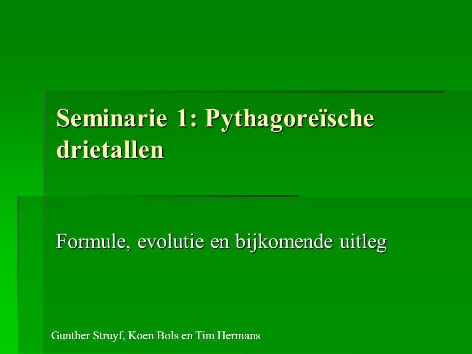 Seminarie 1: Pythagoreïsche drietallen